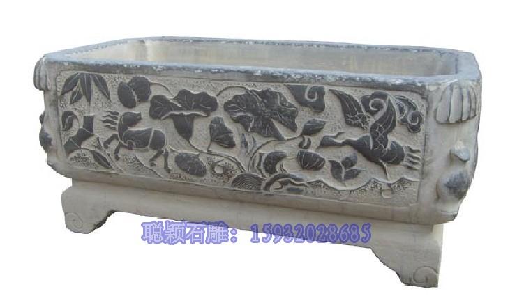 石雕鱼缸青石鱼缸石头鱼缸