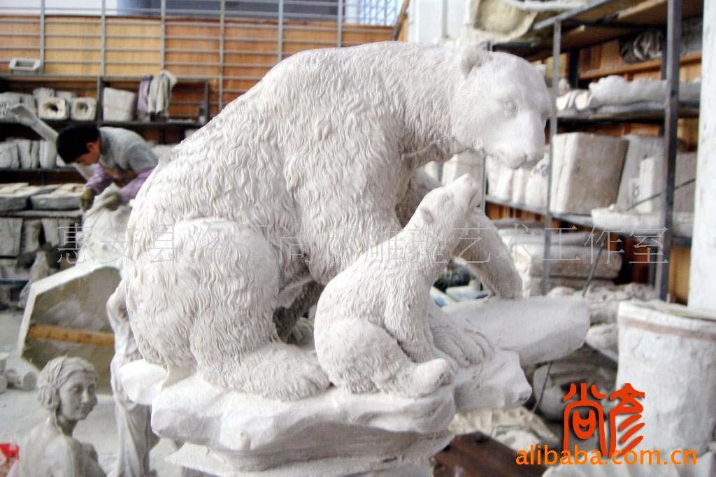 树脂工艺品/母子北极熊雕塑图片