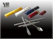 便携式不锈钢环保套装餐具笔筒餐具图片