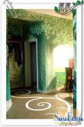 田园手绘墙让家居填满绿色生机图片