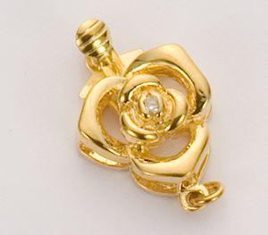 黄金色花朵花心镶钻首饰插扣图片/黄金色花朵花心镶钻首饰插扣样板图