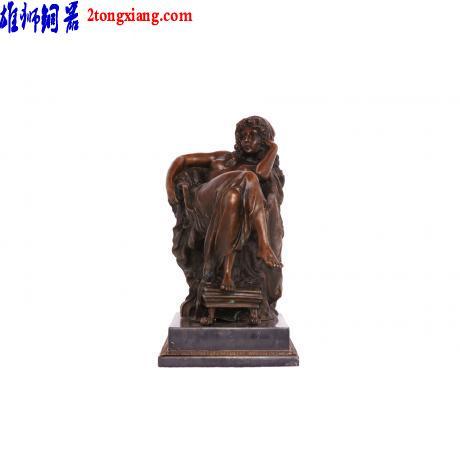 供应铜像批发-铜像制作-铜坐洋女图片
