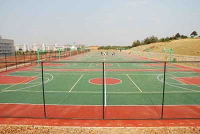 篮球场是一个长方形的坚实平面,无障碍物.对于国际篮球联主