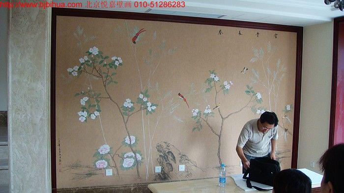 承接手绘丝绸壁纸业务