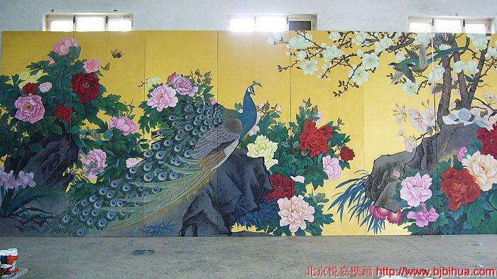 陕西饭店手绘墙贴图