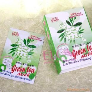 祛皱美白护肤品厂家批发—绿茶牛奶增弹抗皱美白面膜