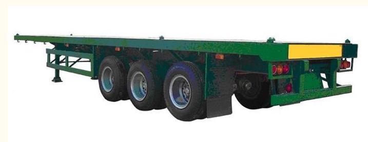 供应3轴平板集装箱半挂车/20尺和40尺专用集装箱专用车