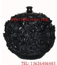 供应九龙罐-浮雕黑陶工艺品