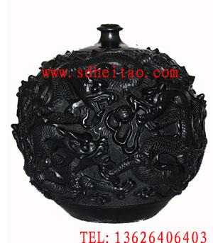 供应九龙罐-浮雕黑陶工艺品图片
