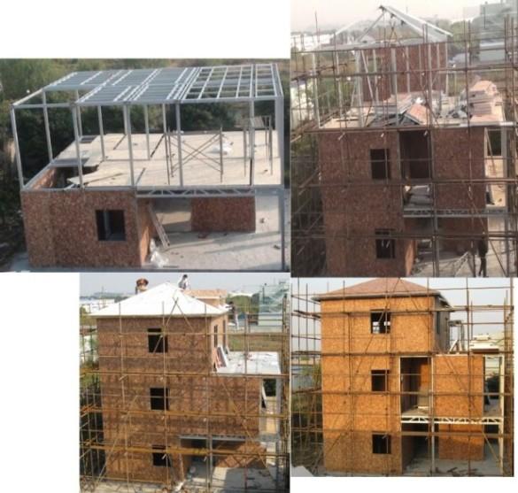 如果采用钢结构,配以石膏板,轻钢龙骨,岩棉,grc彩色外墙板,塑钢门窗