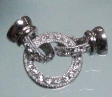 供应圆形镶钻银链扣