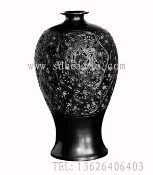 供应百花瓶-黑陶精品系列-齐河黑陶