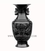 供应凤戏牡丹瓶-黑陶工艺品-济南黑陶