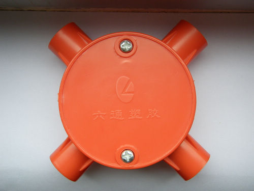 供应彩色PVC电工管件圆四通图片