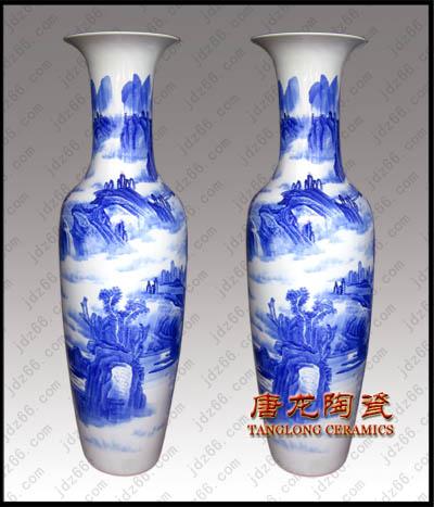 供应青花山水陶瓷花瓶,景德镇青花瓷器大花瓶,公司开业庆典礼品,批发