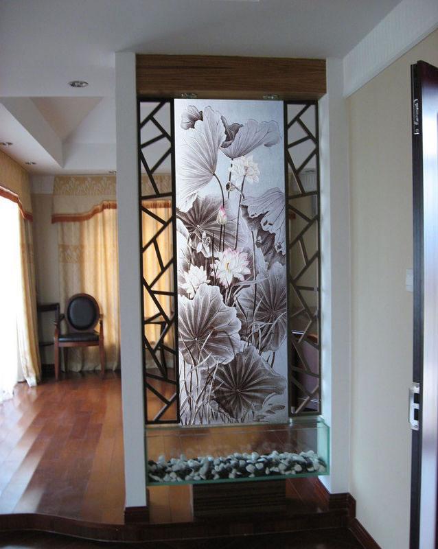 进门玻璃屏风效果图图片大全 艺术玻璃隔断设计效果图