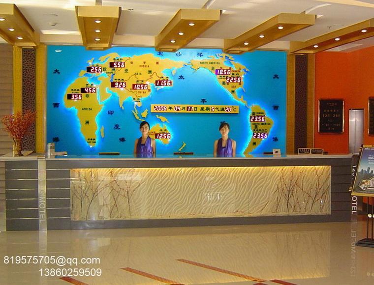 酒店大堂 酒店前台背景墙办公装饰-世界地图钟(新款世界时钟)
