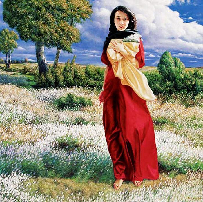 定制纯手绘婚纱油画 私家肖像油画 儿童肖像油画